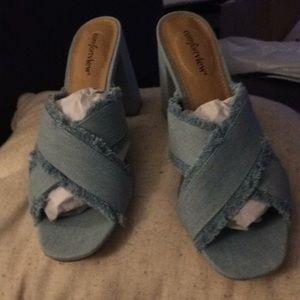 NWOT blue denim slip on sandal heels